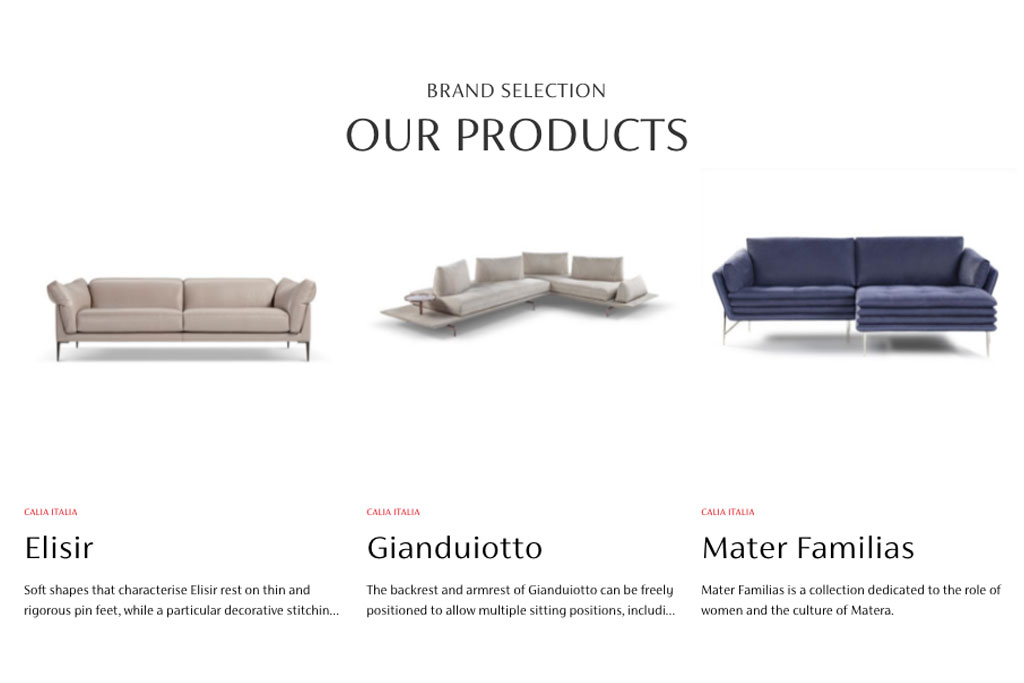 Calia Italia product selection salone mobile milano